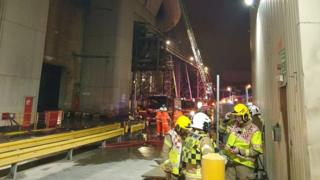 Fire crews at the Cemex plant in Rugby