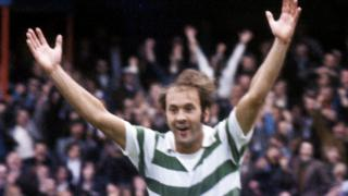Harry Hood celebrates with Celtic