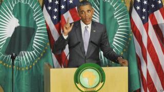 US President Barack Obama addresses the African Union in Addis Ababa. Photo: 28 July 2015