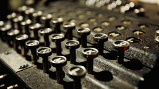 Close-up of Enigma machine