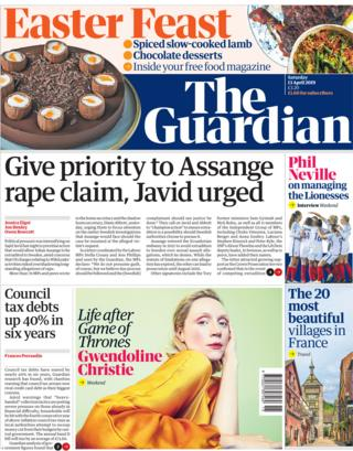 Guardian front page, 13/4/19