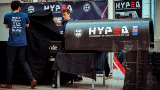 The University of Edinburgh Hyperloop Team HYPED, launch the latest version of their pod design during an event at the National Museum of Scotland