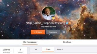 Screenshot of Stephen Hawking's Weibo account taken on 13 April 2016