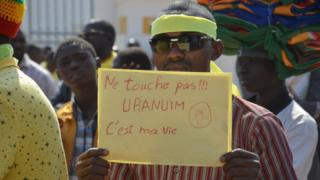 Un manifestant contre la société AREVA en 2014 à Niamey (illustration)