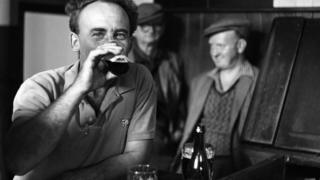 A customer drinking at The Engineers Arms in Leiston in 1966