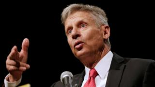 Gary Johnson speaks at the Libertarians' National Convention at the Rosen Centre in Orlando, Florida, 29 May 2016