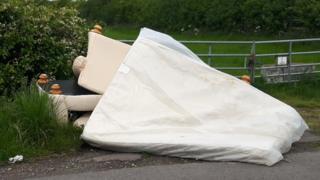 Dumped mattress and furniture