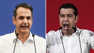 New Democracy party leader Kyriakos Mitsotakis (left) and Greek PM Alexis Tsipras