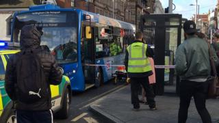 Pedestrians hurt in bus crash in Nottingham