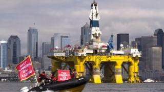 Protestors against Shell's drilling in the Arctic