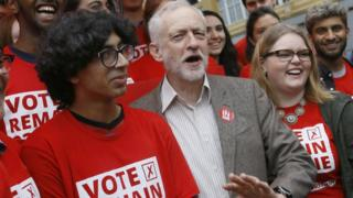 """Jeremy Corbyn, Leader of Britain""""s Labour Party poses for a photograph with young supporters at the launch of """"Labour In for Britain"""", ahead of June""""s EU referendum, in London, 10 May 2016"""