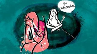"""Ilustración de chica con su pareja y ella le dice """"no entiendo"""""""