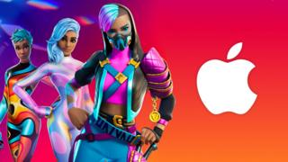 sports Fortnite characters next to Apple logo
