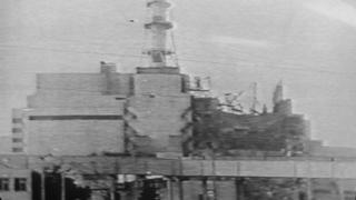 An image from Soviet television showing, on 20 April 1986, this picture of the Chernobyl plant on which a half-destroyed building could be seen