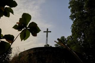 Cross on a hill in Waterloo district, Sierra Leone.