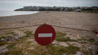 A view of a closed beach at the port town of Rafina near Athens on April 29, 2020