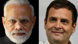 莫迪(图左)将寻求延续他政党的领导地位,迎以接拉胡尔·甘地(图右)为首的印度全国人民党挑战。