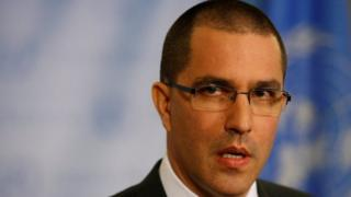 """Venezuela""""s Foreign Minister Jorge Arreaza speaks during a press conference on the sidelines of the 72nd United Nations General Assembly at U.N. Headquarters"""