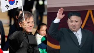 A composite image showing South Korean President Moon, left, holding a South Korean flag aloft, and North Korean leader Kim Jong-un, right, one hand raised in a wave