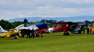 A colourful array of planes line up at the event