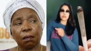 A composite image of Nkosazana Dlamini-Zuma and a TikTok video.