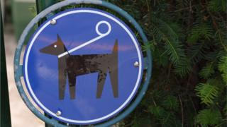 Sign showing dog on a lead