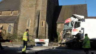 Iceland lorry crashed in to St John's Church
