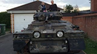 Jeff Woolmer and his daughter in his CVR (T) Scorpion