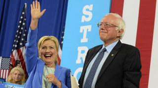 Hillary Clinton and Bernie Sanders take the stage in New Hampshire.