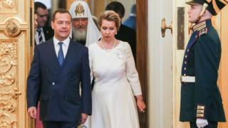 Дмитрий Медведев с супругой на инаугурации Владимира Путина