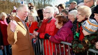 Prince Charles meets residents of Stamford in York in February 2016