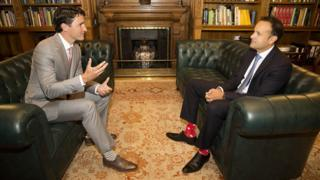 Canadian Prime Minister Justin Trudeau (left) talks with Irish Taoiseach Leo Varadkar during a visit to Farmleigh House in Dublin, 4 July 2017