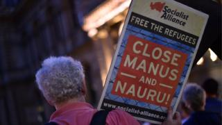 Protests in Sydney over the detention of refugees on the Pacific island of Nauru, 30 April 2016