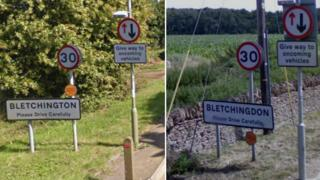 Signs saying Bletchington and Bletchingdon