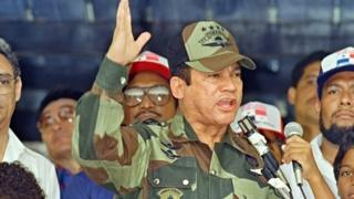 General Manuel Noriega speaking in Panama City in 1988 (20/04/1988)