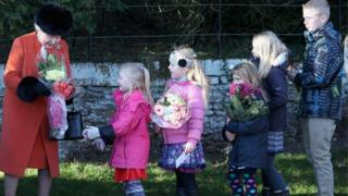 Queen and well-wishers at Sandringham, Christmas 2013