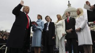 President Trump and his family at his inauguration ceremony at the Capitol building on 20 January 2017