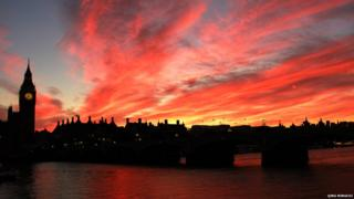 Red skies over London