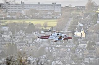 Helicopter searching the River Tay