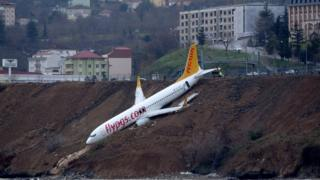 Pegasus Airlines aircraft pictured after it skidded off the runway at Trabzon airport by the Black Sea, Turkey, January 14, 2018