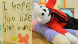 Card and stuffed toy