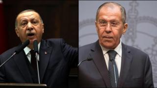 سرگئی لارورف، وزیر خارجه روسیه و رجب طیب اردوغان، رئیس جمهور ترکیه