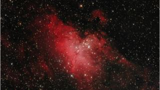 The Eagle Nebula in the constellation Serpens,a great cloud of interstellar gas. The image is taken in the in prime focus of professional mirror telescope (Newtonian) the Exposure time is 90 minutes.