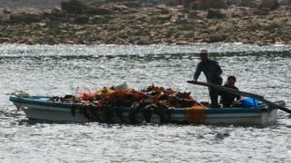 File photo of fishermen steering a boat on Baengnyeong Island on June 15, 2010, South Korea.