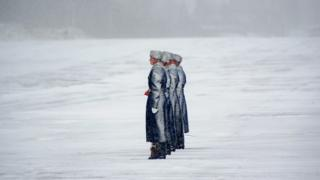 Belarus' honour guards at a military base near Minsk
