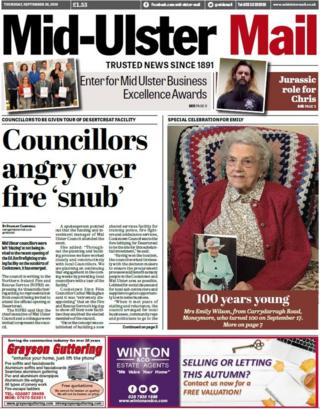 Front page of the Mid-Ulster Mail