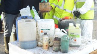 The organisers displayed some of the hazardous farm waste they collected at the awareness event