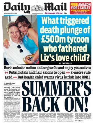 La página principal del Daily Mail 24.06.20