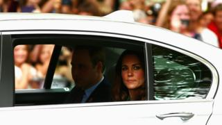The Duke and Duchess of Cambridge in a limousine during their 2014 visit to New Zealand