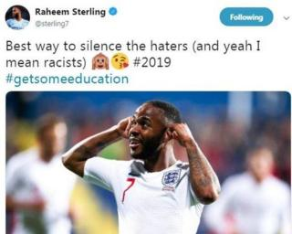 Raheem Sterling tweeted that his goal celebration was a direct response to racist chanting from the crowd